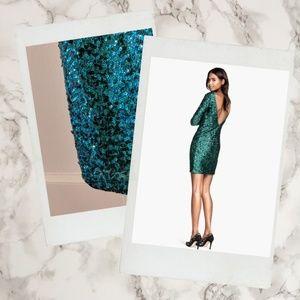 H&M Divided ▪ Emerald Sequin Scoop Back Mini Dress